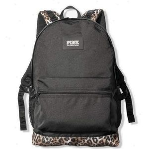 NWT VS Pink CAMPUS BACKPACK Black / Cheetah Print